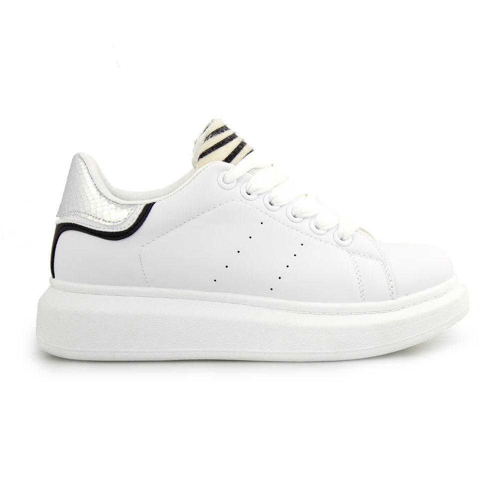 Γυναικεία sneakers με animal print λεπτομέρεια Λευκό/Ασημί