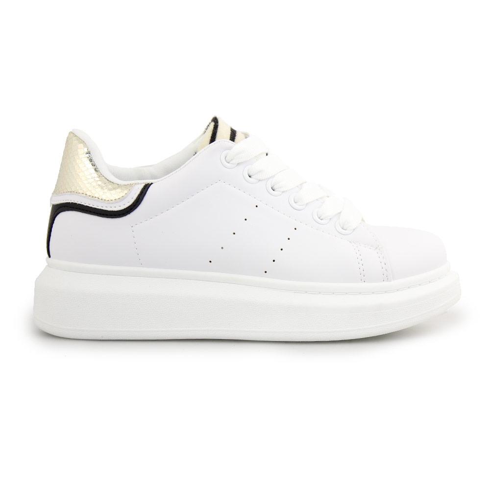 Γυναικεία sneakers με animal print λεπτομέρεια Λευκό/Χρυσό