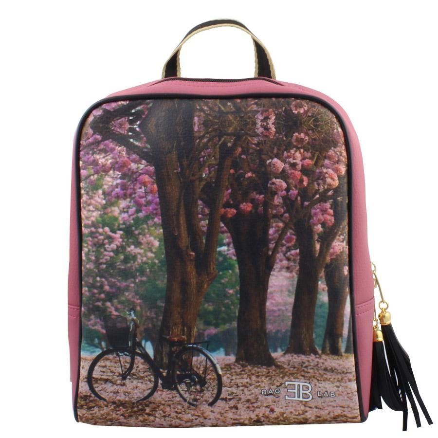 Σακίδια πλάτης με print bike in the forest Σομόν