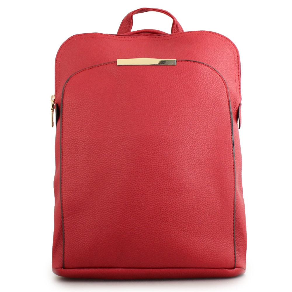 Γυναικεία σακίδια πλάτης με μεταλλικό διακοσμητικό Κόκκινο