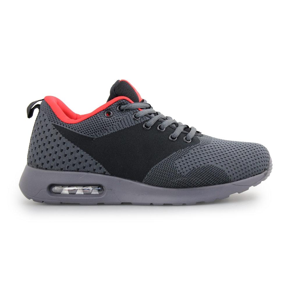 Ανδρικά Sneakers με πλεκτό σχέδιο και αερόσολα Μαύρο/Γκρι