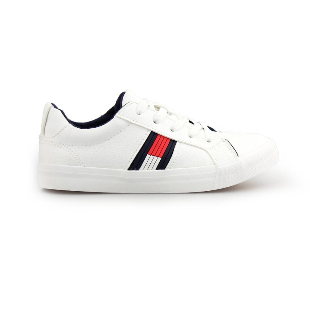 Παιδικά sneakers με δίχρωμη λεπτομέρεια στο πλάι Λευκό