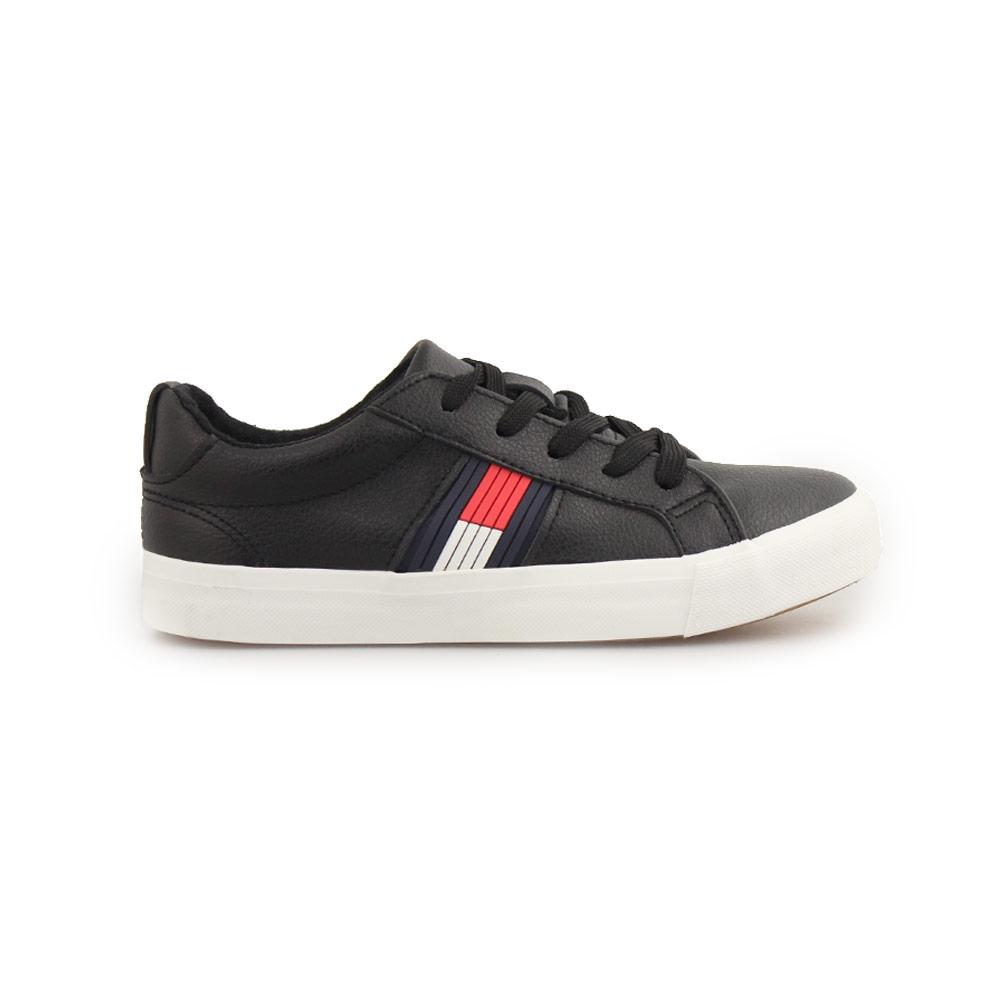Παιδικά sneakers με δίχρωμη λεπτομέρεια στο πλάι Μαύρο