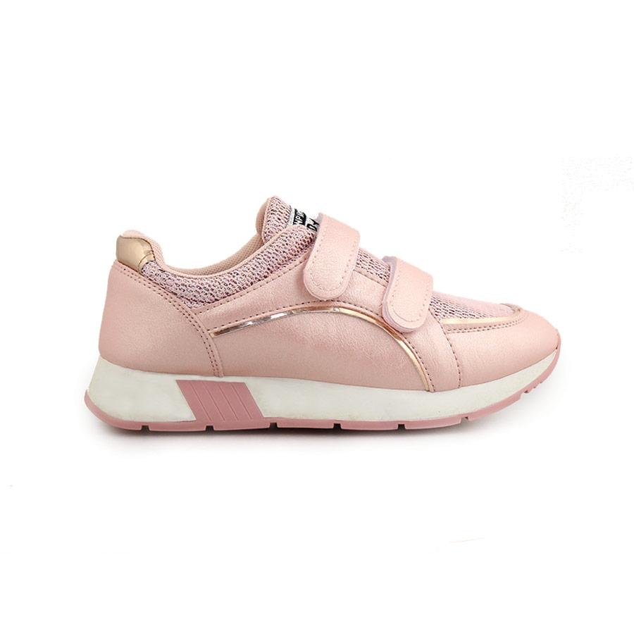Παιδικά sneakers με μεταλλιζέ λεπτομέρεια και αυτοκόλλητα Ροζ