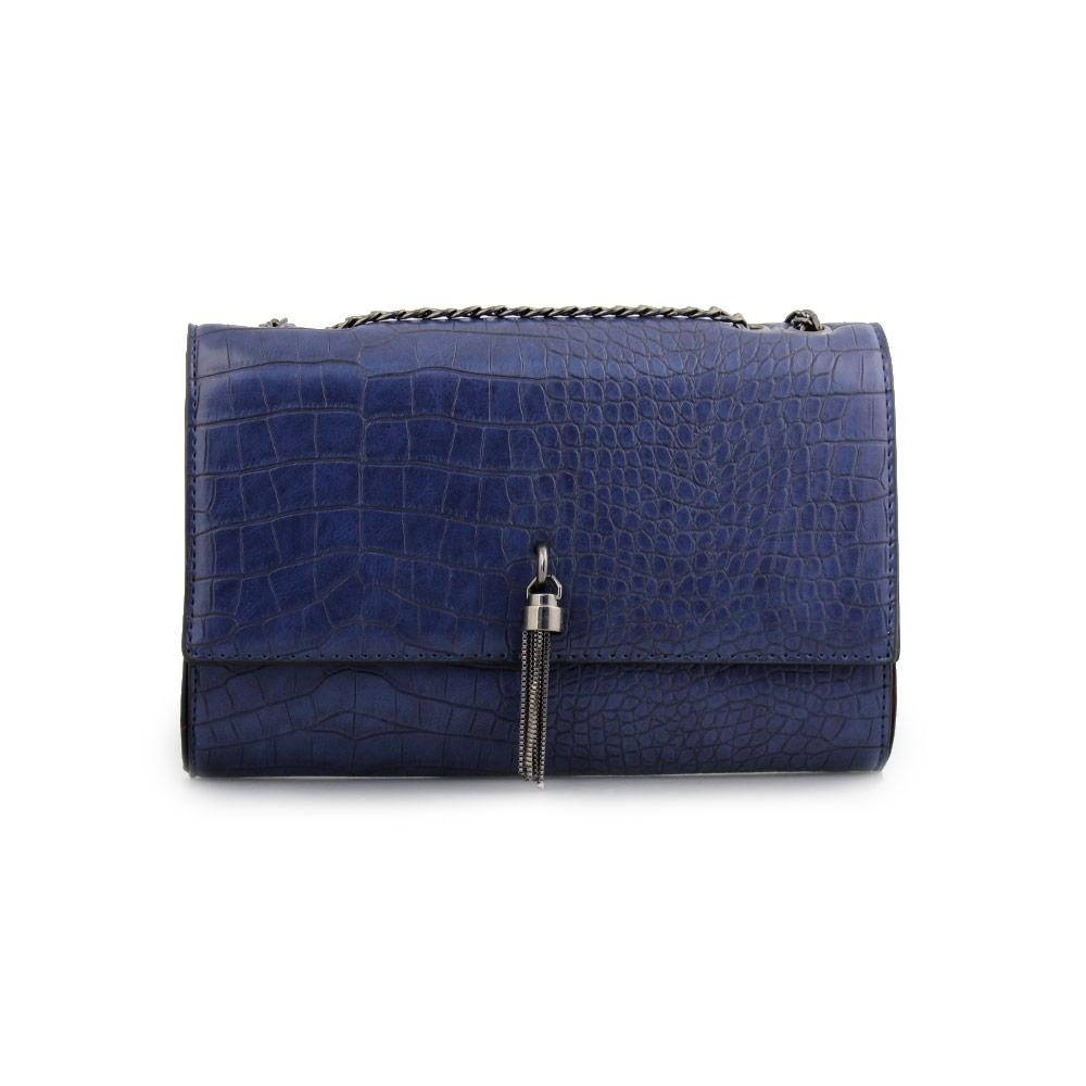 Γυναικείες τσάντες ώμου με κροκό μοτίβο Μπλε