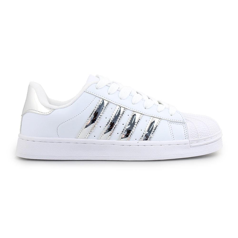 Γυναικεία sneakers με ρίγες Λευκό/Ασημί