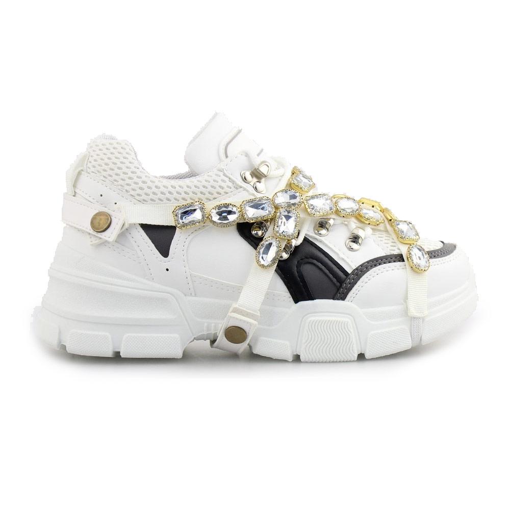 Γυναικεία sneakers με αποσπώμενο διακοσμητικό Λευκό