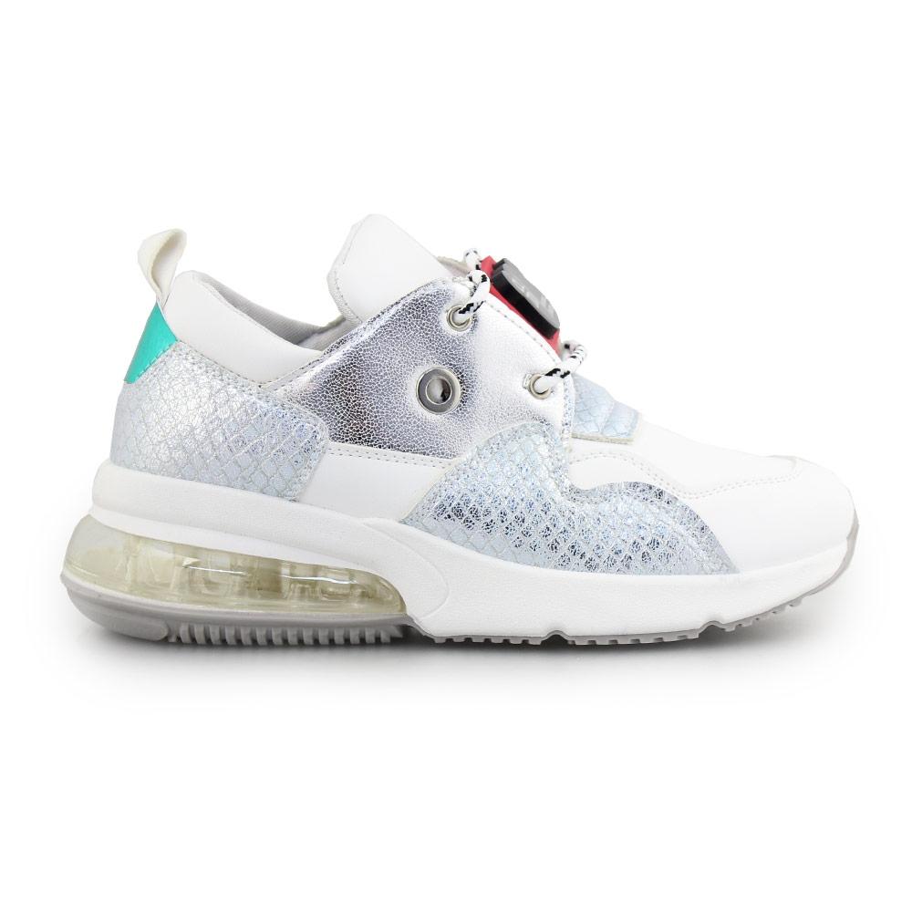 Γυναικεία sneakers με αγκράφα στα κορδόνια Λευκό