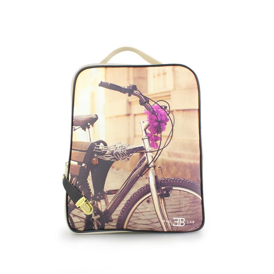 Γυναικεία σακίδια πλάτης με print ποδήλατο Μπεζ