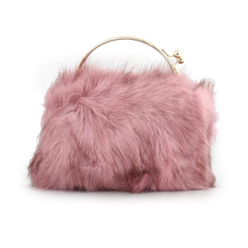 Γυναικείες τσάντες χειρός με γουνάκι Ροζ