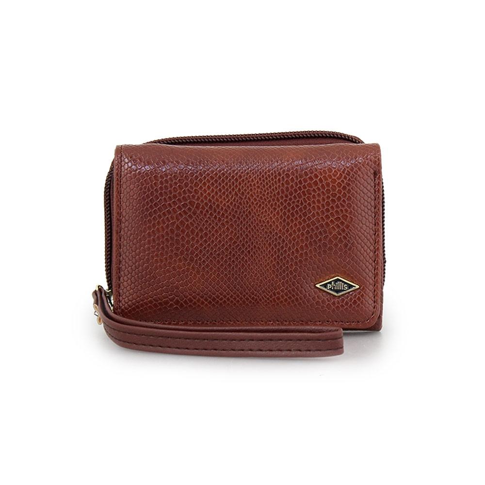 Γυναικεία πορτοφόλια με snake μοτίβο Καφέ