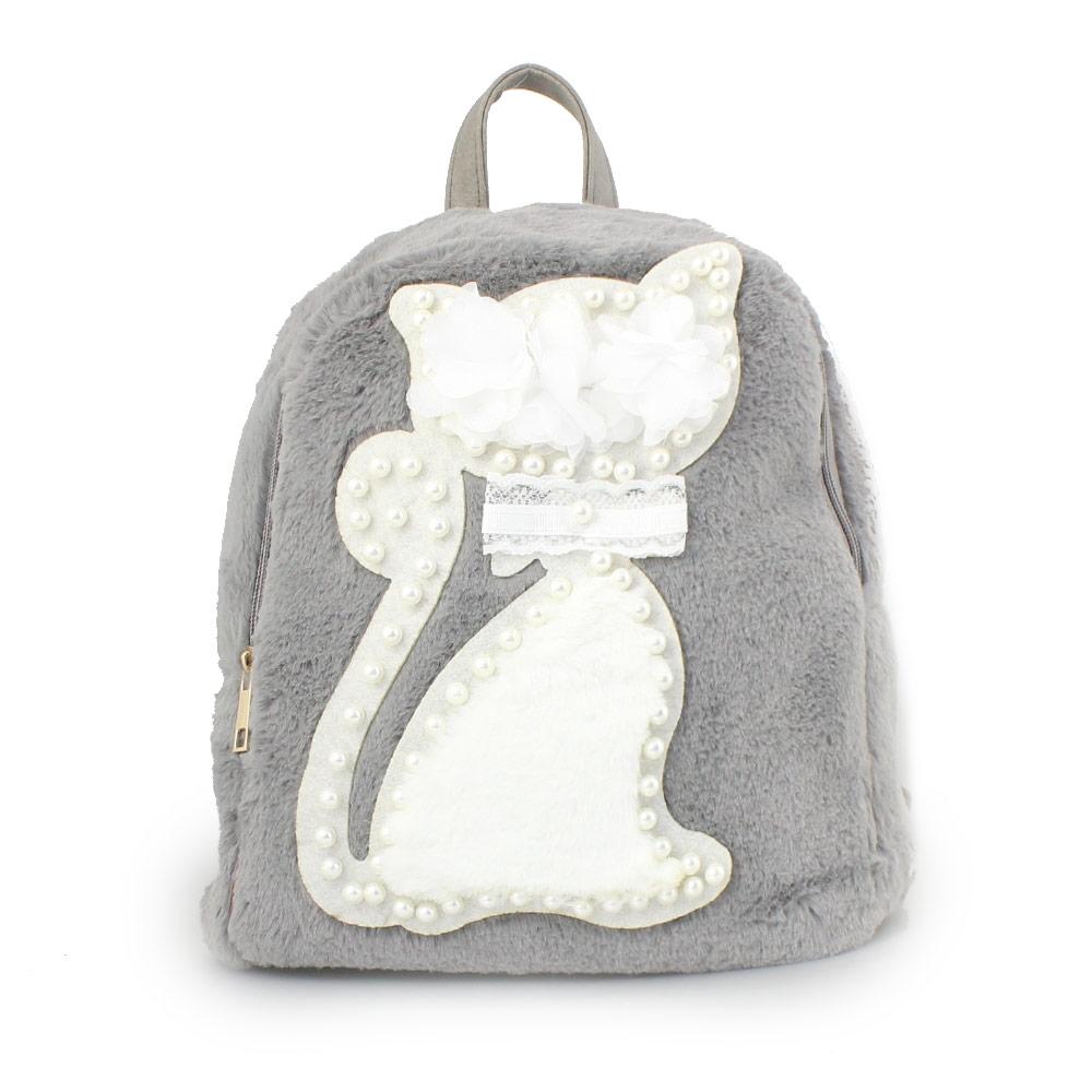 Γυναικεία σακίδια πλάτης με γατάκι και πέρλες Γκρι