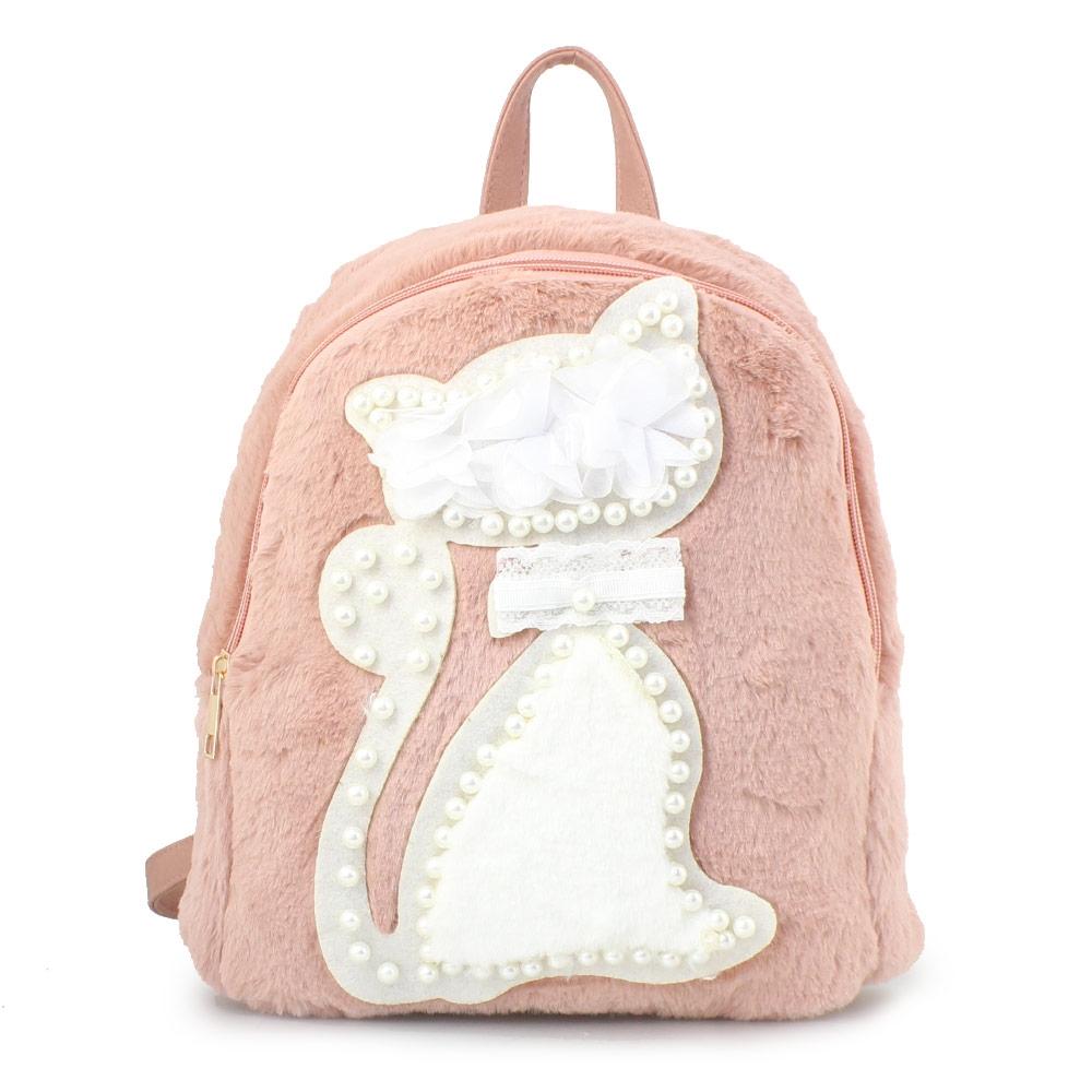 Γυναικεία σακίδια πλάτης με γατάκι και πέρλες Ροζ