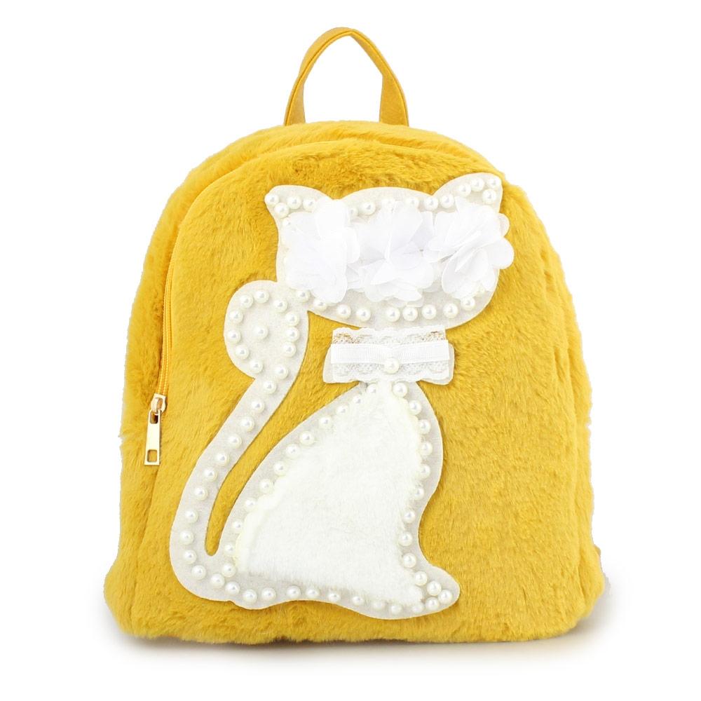 Γυναικεία σακίδια πλάτης με γατάκι και πέρλες Κίτρινο