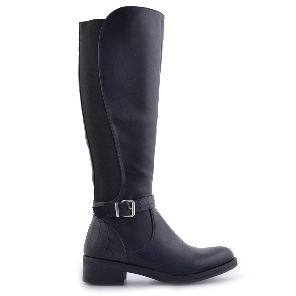 Γυναικείες μπότες με κροκό λεπτομέρειες Μαύρο