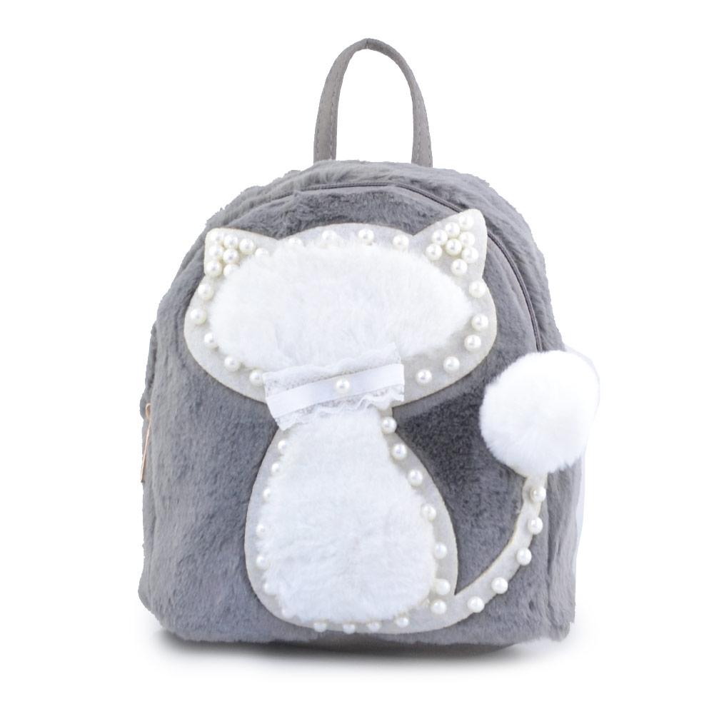 Παιδικά σακίδια πλάτης με γατάκι και πέρλες Γκρι