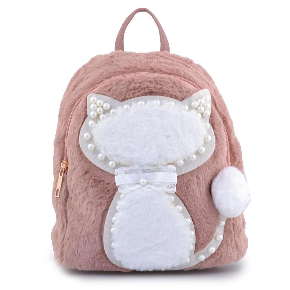 Παιδικά σακίδια πλάτης με γατάκι και πέρλες Ροζ