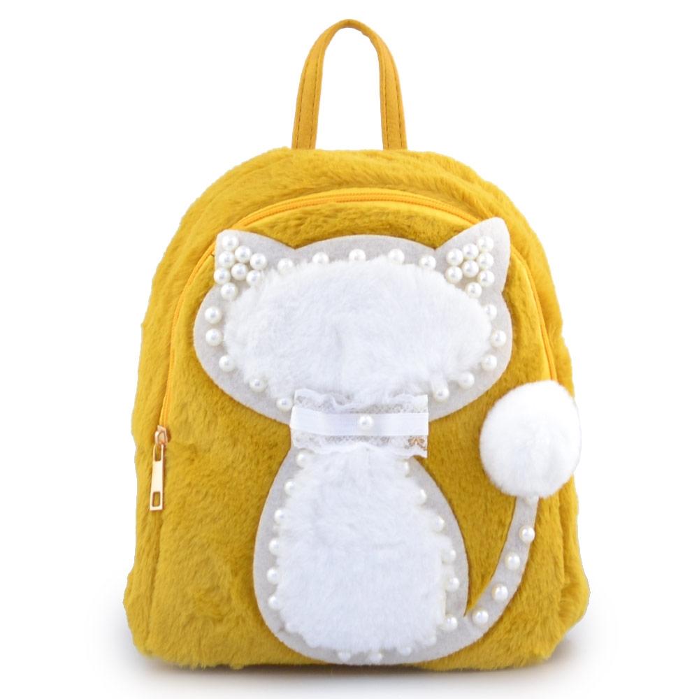 Παιδικά σακίδια πλάτης με γατάκι και πέρλες Κίτρινο