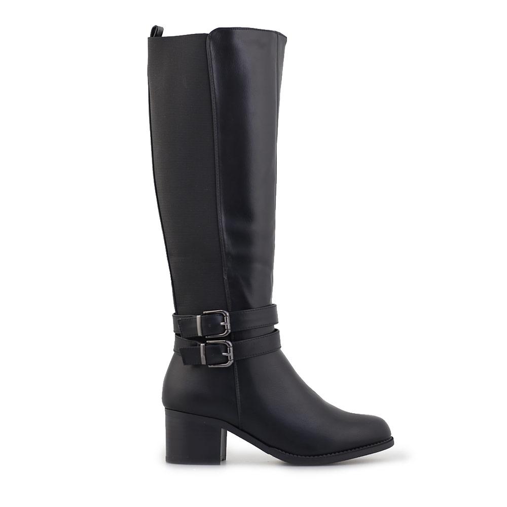 Γυναικείες μπότες με λάστιχο και λουράκια Μαύρο