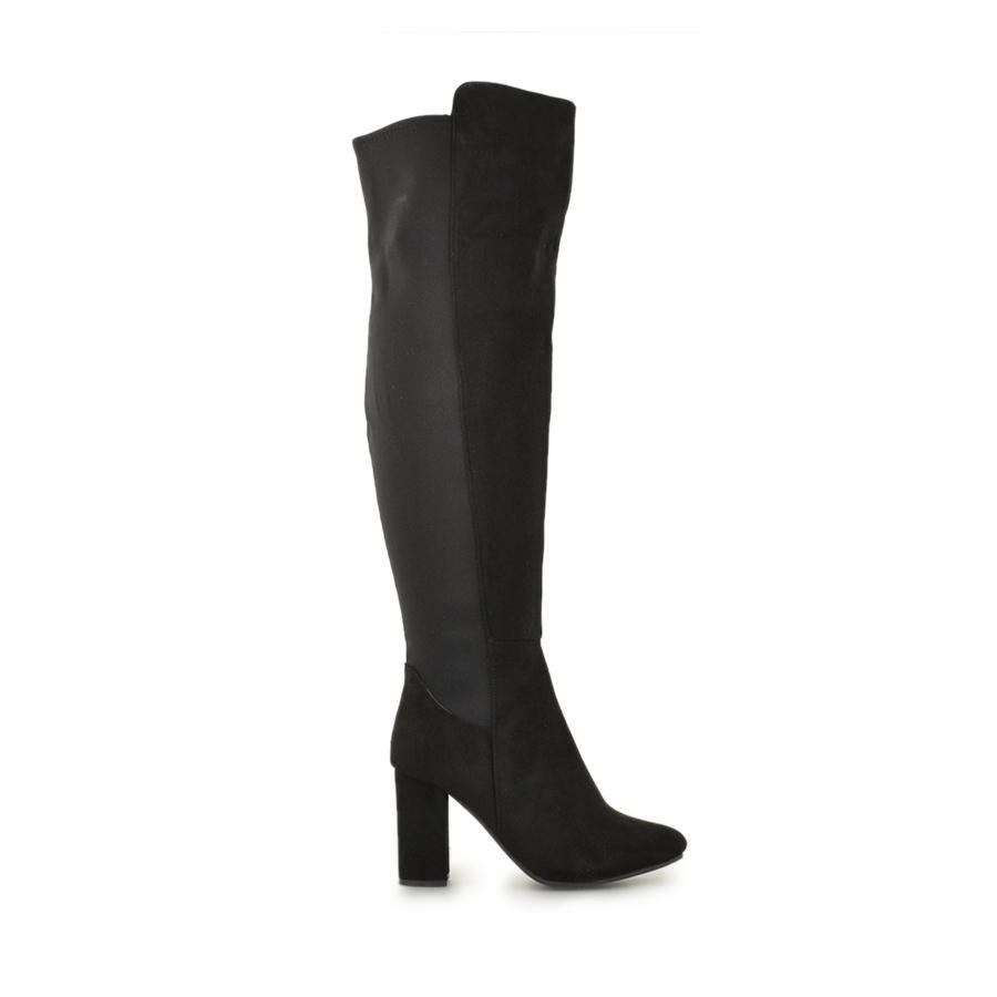 Γυναικείες μπότες μυτερές με λάστιχο Μαύρο