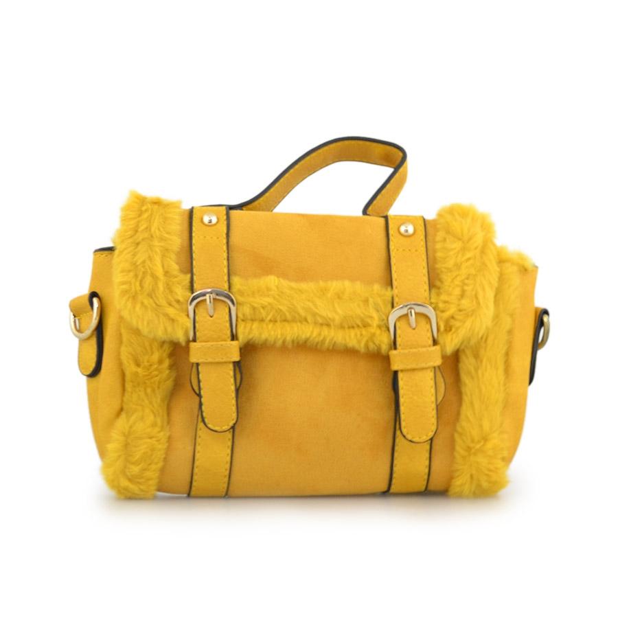 Γυναικείες τσάντες ώμου με διακοσμητικό γουνάκι Κίτρινο
