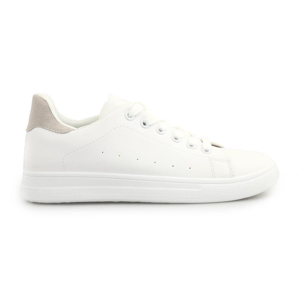 Γυναικεία sneakers μονόχρωμα με λεπτομέρεια Λευκό/Γκρι