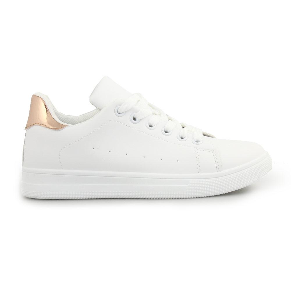 Γυναικεία sneakers μονόχρωμα με λεπτομέρεια Λευκό/Σαμπανί