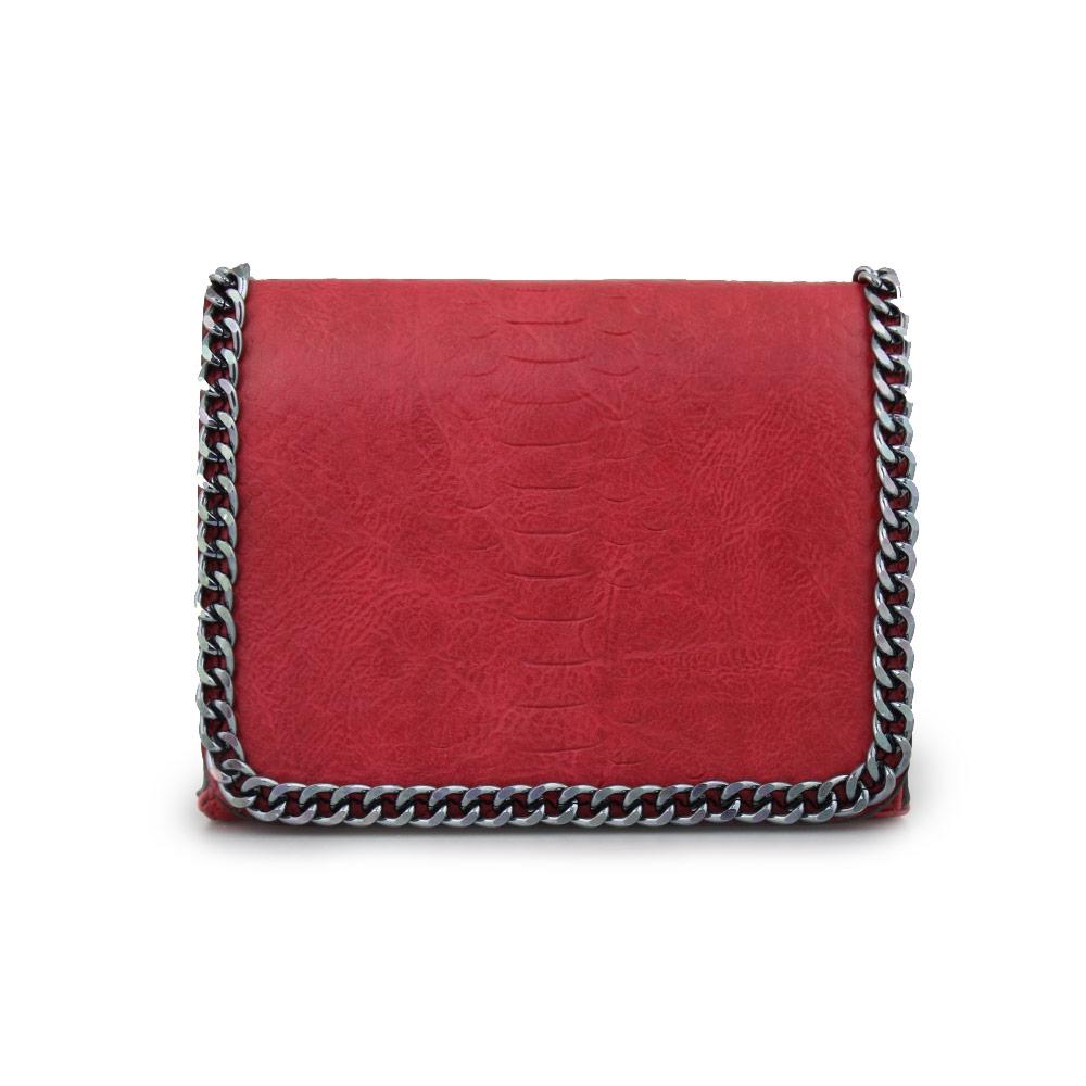 Γυναικείες τσάντες ώμου με διακοσμητική αλυσίδα Κόκκινο