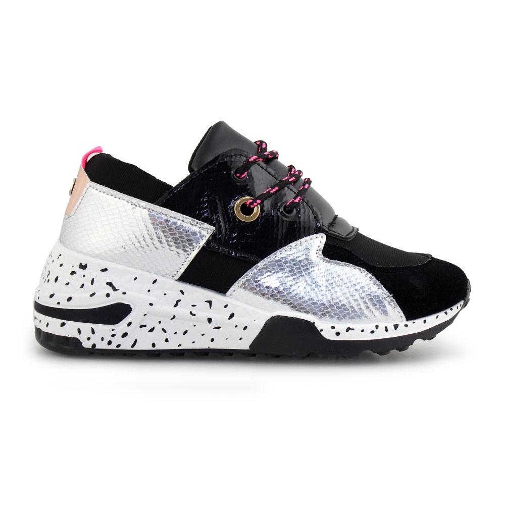 Γυναικεία sneakers με μοτίβο Μαύρο/Ασημί