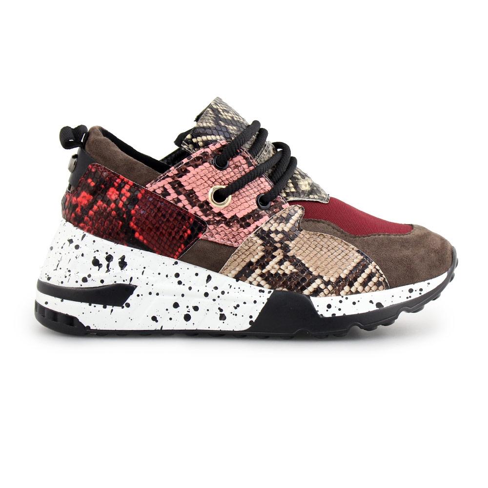 Γυναικεία sneakers με μοτίβο Μπορντώ/Καφέ