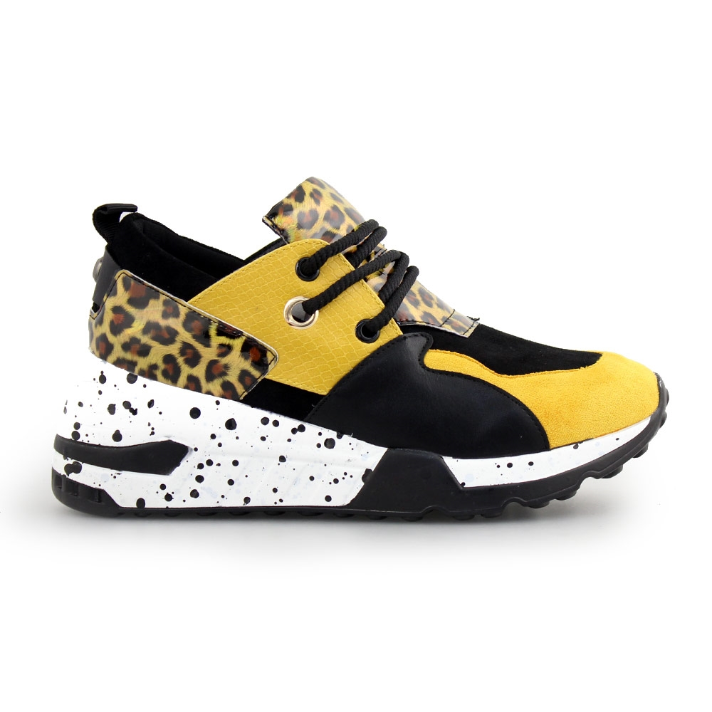 Γυναικεία sneakers με μοτίβο Κίτρινο/Μαύρο