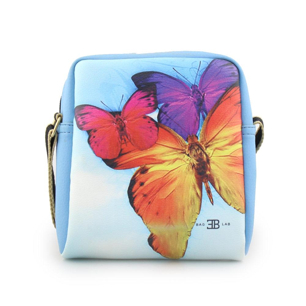 Γυναικείες τσάντες ώμου με print πεταλούδες Σιέλ