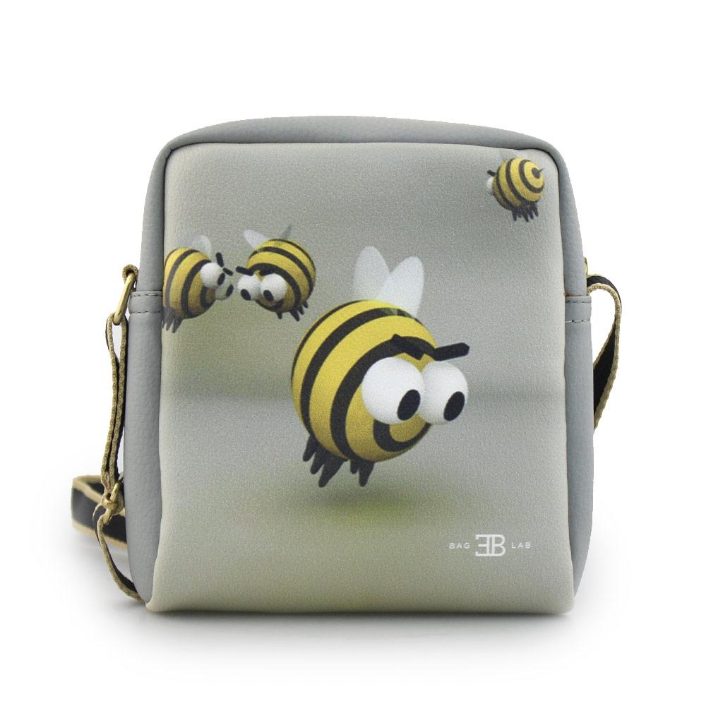 Γυναικείες τσάντες ώμου με print μέλισσες Γκρι