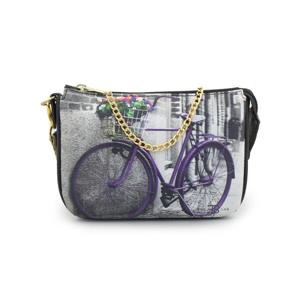 Γυναικείες τσάντες ώμου με print ποδήλατο Μαύρο