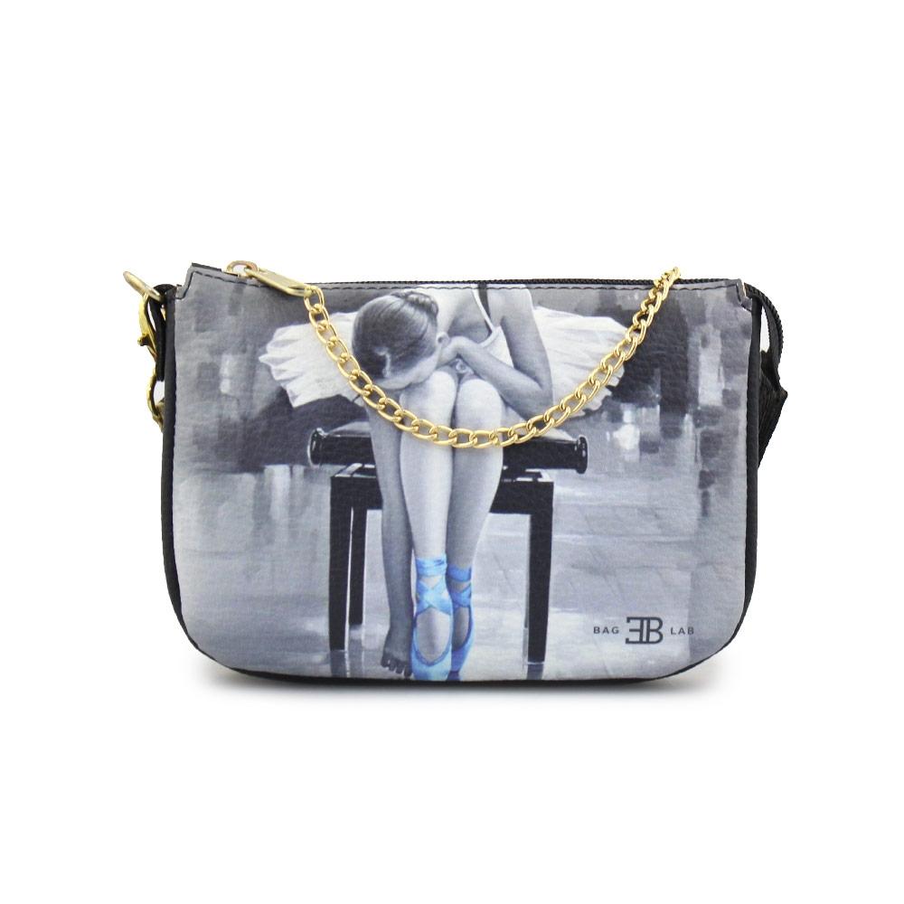 Γυναικείες τσάντες ώμου με print μπαλαρίνα Μαύρο
