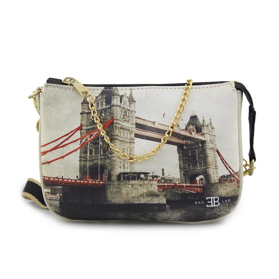 Γυναικείες τσάντες ώμου με print London bridge Μπεζ