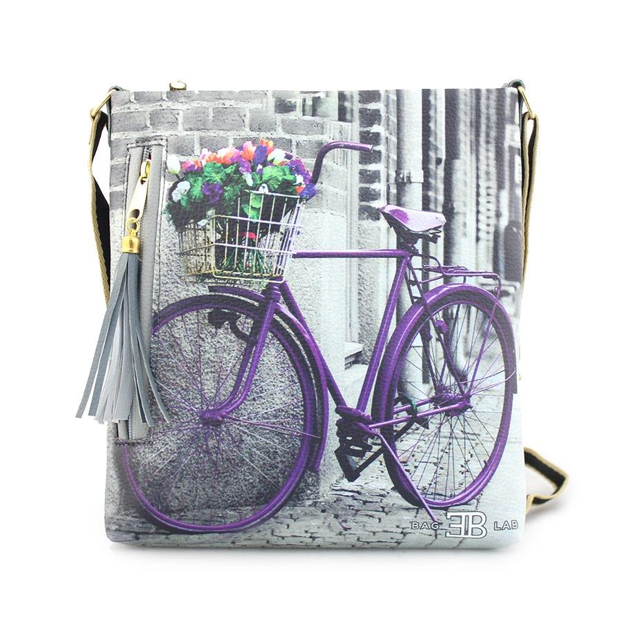 Γυναικείες τσάντες ώμου με print ποδήλατο Γκρι
