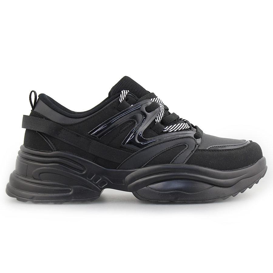Ανδρικά sneakers με ριγέ κορδόνια Μαύρο