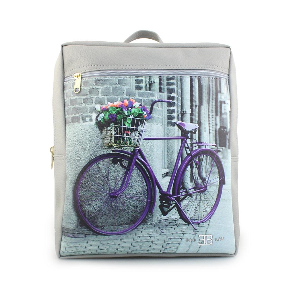Γυναικεία σακίδια πλάτης με ποδήλατο και λουλούδια Γκρι
