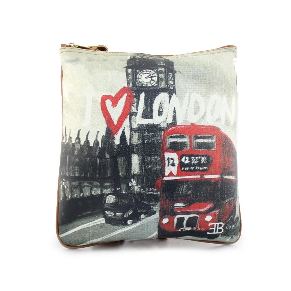 Γυναικείες τσάντες ώμου με print London Μαύρο