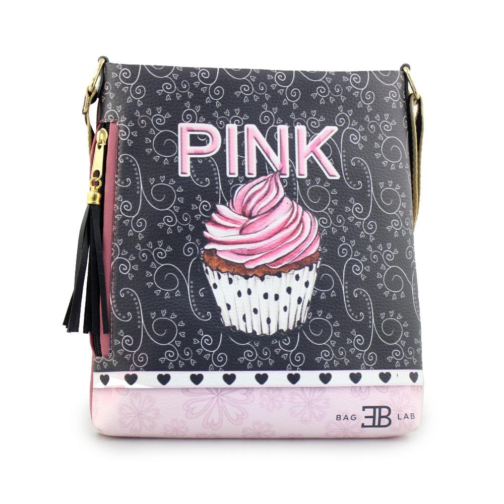Γυναικείες τσάντες ώμου με print cupcake Ροζ