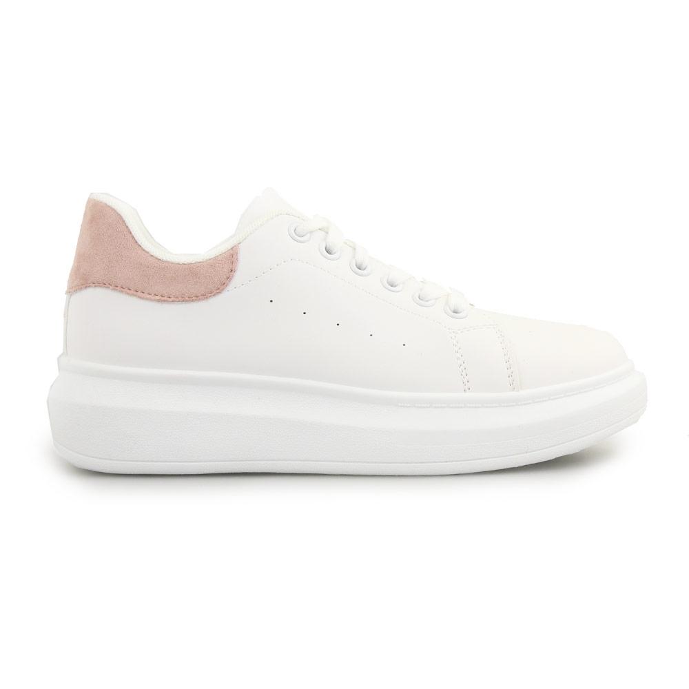 Γυναικεία sneakers μονόχρωμα με λεπτομέρεια Λευκό/Ροζ