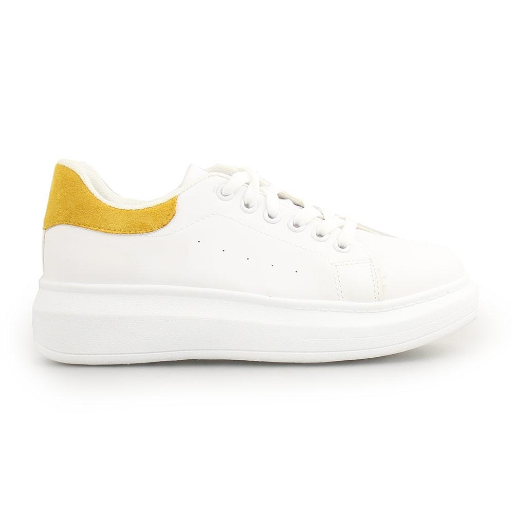 Γυναικεία sneakers μονόχρωμα με λεπτομέρεια Λευκό/Κίτρινο