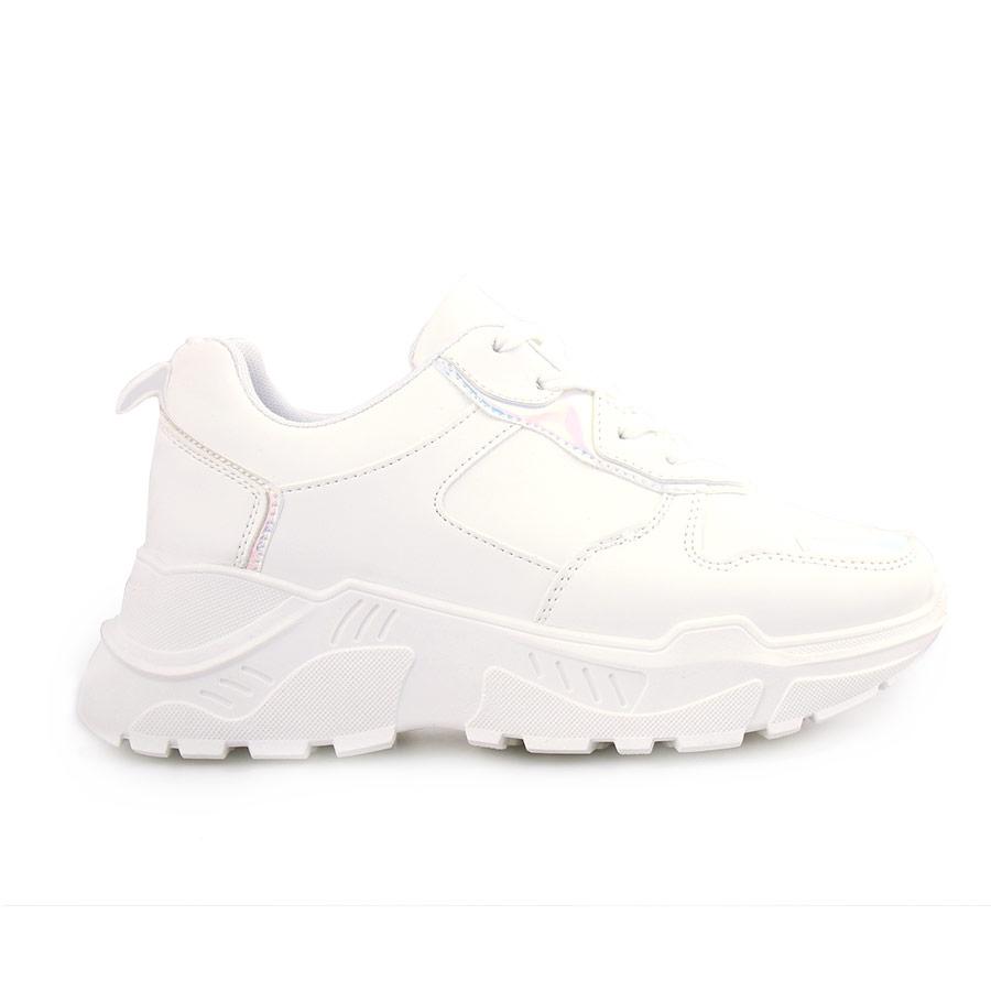 Γυναικεία sneakers μονόχρωμα με μεταλιζέ λεπτομέρεια Λευκό