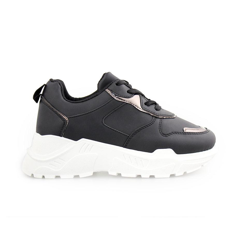 Γυναικεία sneakers μονόχρωμα με μεταλιζέ λεπτομέρεια Μαύρο