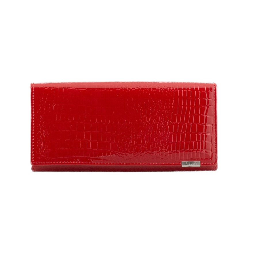 Γυναικεία πορτοφόλια δερμάτινα με κροκό μοτίβο Κόκκινο