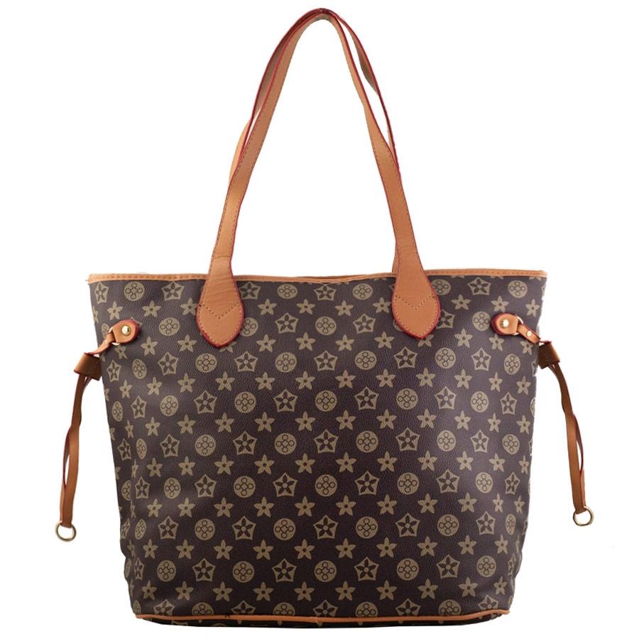 Γυναικεία τσάντα ώμου με διακοσμητικά λουράκια Καφέ