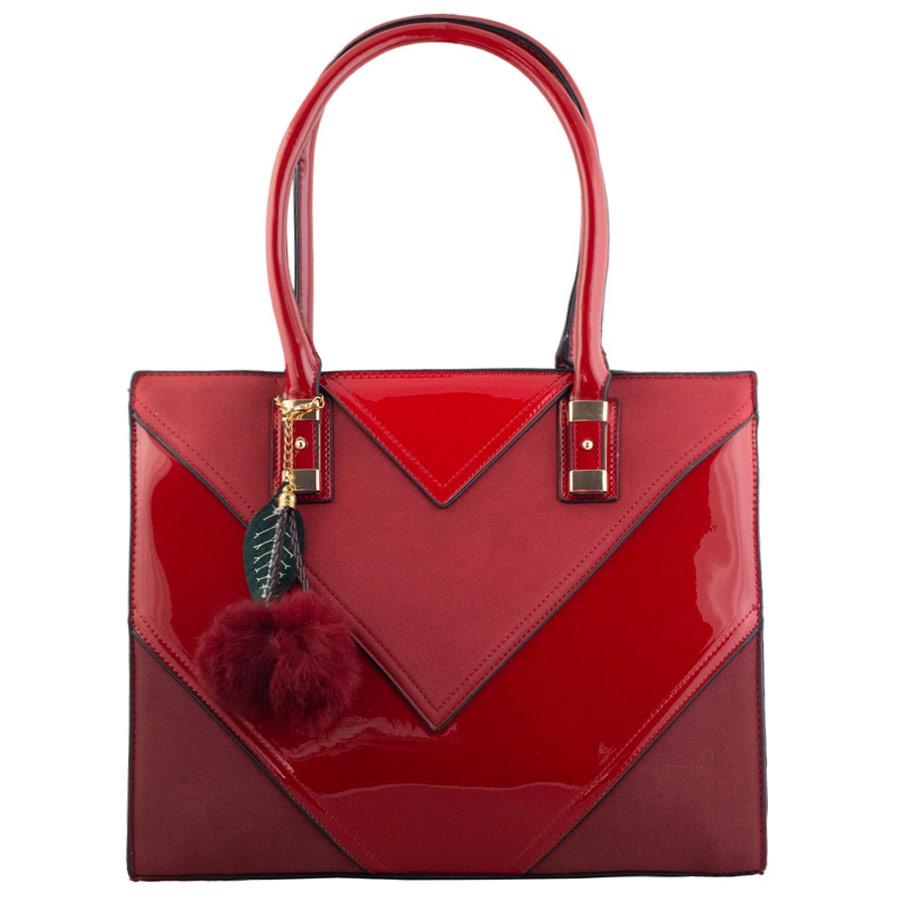 Γυναικεία τσάντα χερός με τριγωνικά σχέδια Κόκκινο