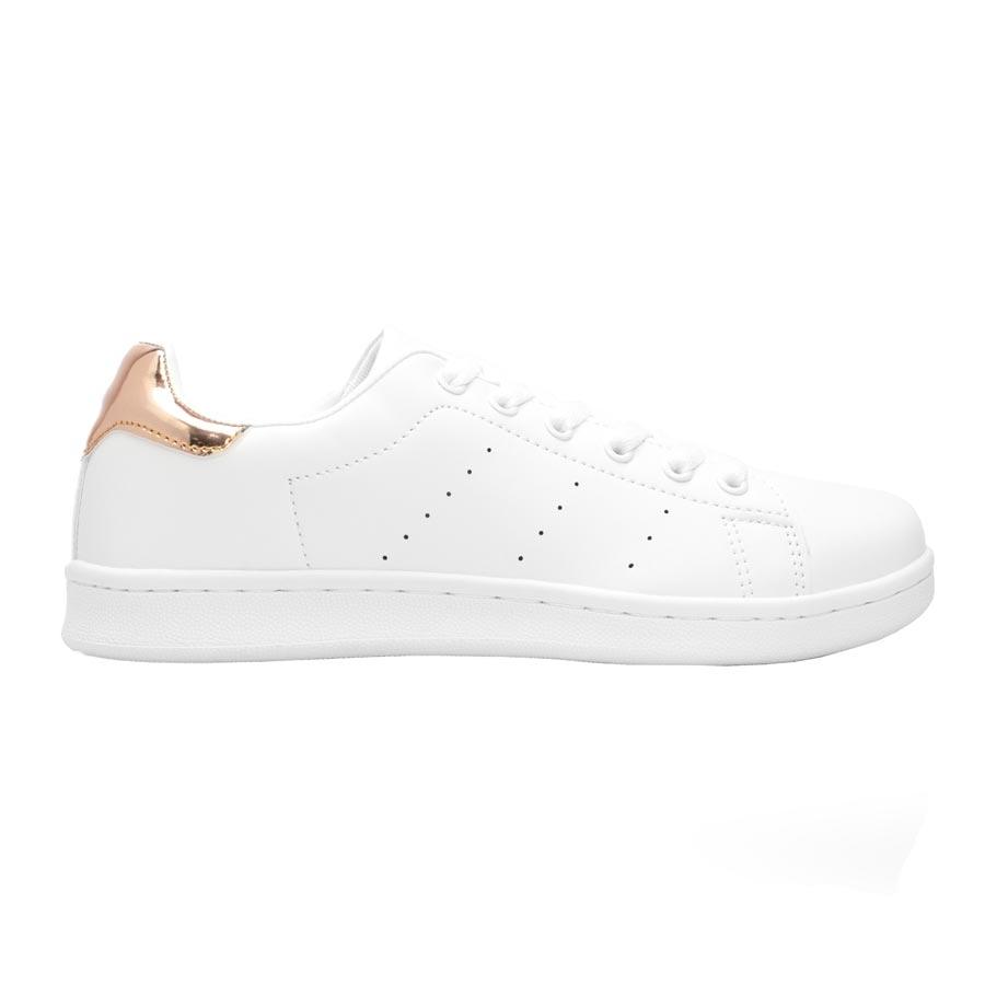 Γυναικεία sneakers μονόχρωμα Λευκό/Σαμπανί