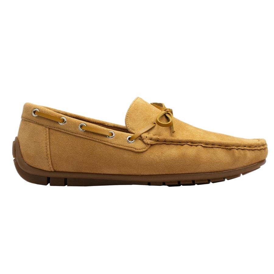 Ανδρικά loafers με διακοσμητικά κορδόνια Κάμελ